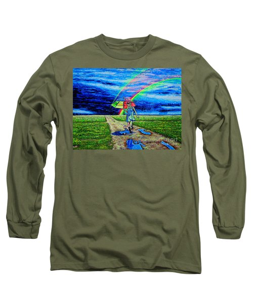 Long Sleeve T-Shirt featuring the painting Girl And Puddle by Viktor Lazarev