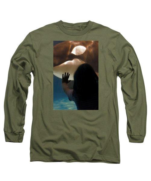 Girl Vs Whale Long Sleeve T-Shirt by Bob Pardue