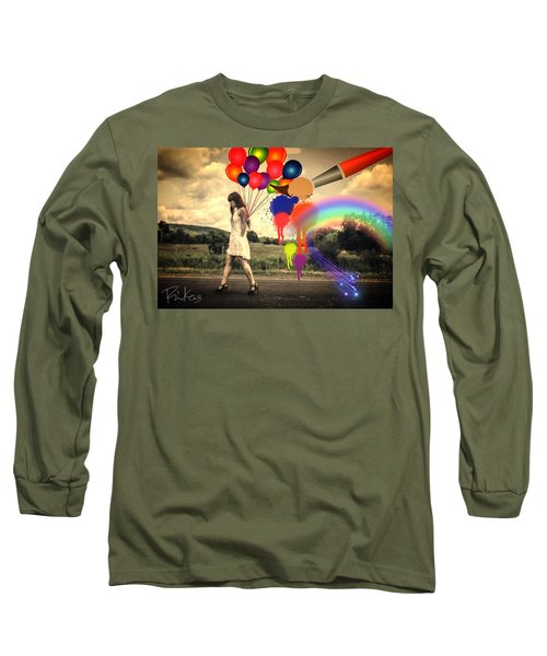 Girl Walking With Balloons #2 Long Sleeve T-Shirt