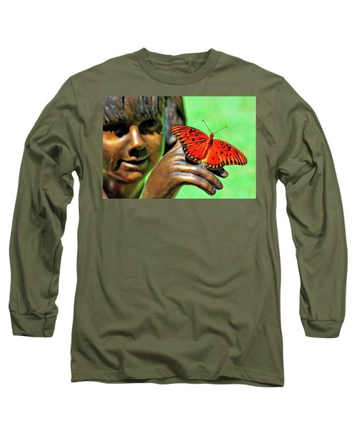 Girl With Butterfly Long Sleeve T-Shirt