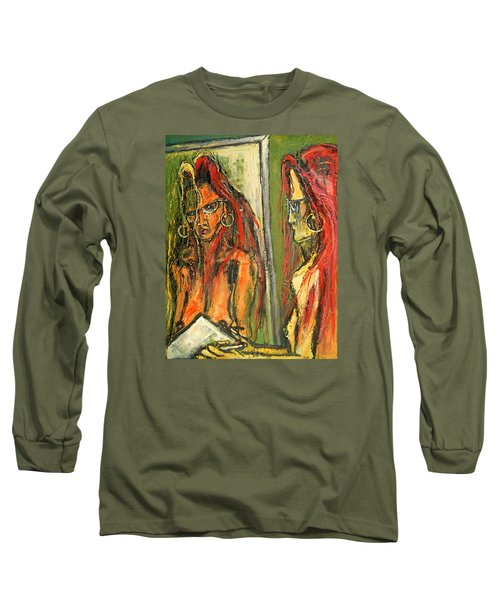 Girl With Eye Glasses--self-analysis Long Sleeve T-Shirt by Kenneth Agnello