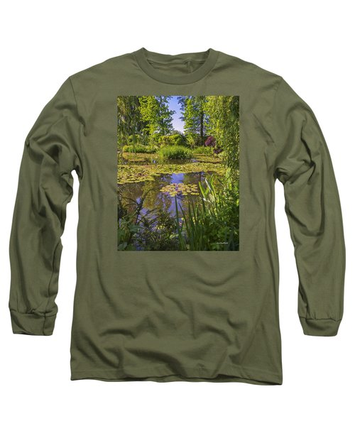 Long Sleeve T-Shirt featuring the photograph Giverny France - Claude Monet's Pond  by Allen Sheffield