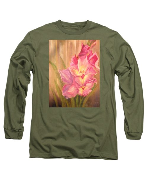 Long Sleeve T-Shirt featuring the painting Gladiolas by Sherril Porter