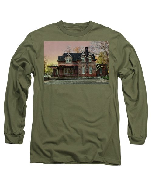 Glen Mill Train Station Long Sleeve T-Shirt by Judy Wolinsky