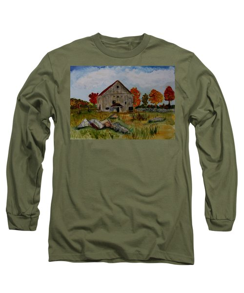 Long Sleeve T-Shirt featuring the painting Glover Barn In Autumn by Donna Walsh