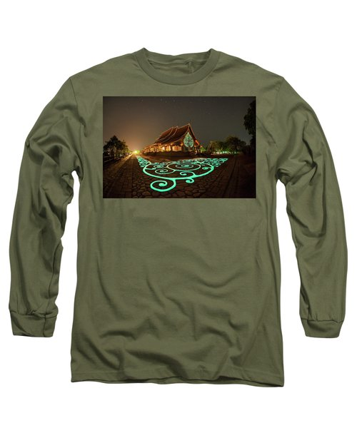 Glowing Wat Sirintorn Wararam Temple, Ubon Long Sleeve T-Shirt