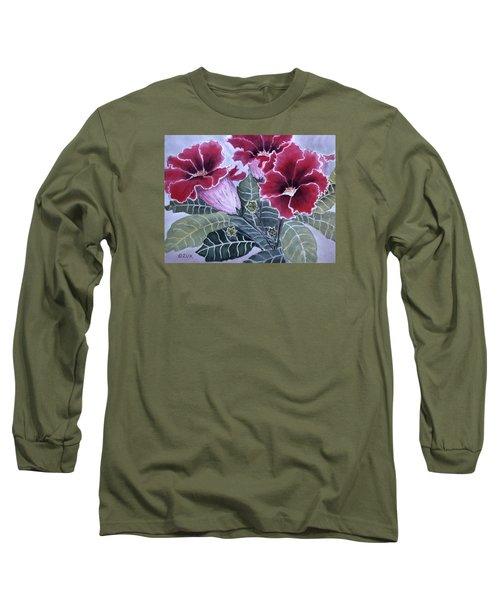 Long Sleeve T-Shirt featuring the painting Gloxinias by Karen Zuk Rosenblatt