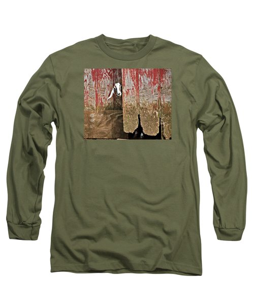 Goat And Old Barn Door Long Sleeve T-Shirt
