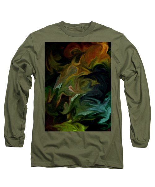 Long Sleeve T-Shirt featuring the painting Goblinz Abstract by Sheila Mcdonald