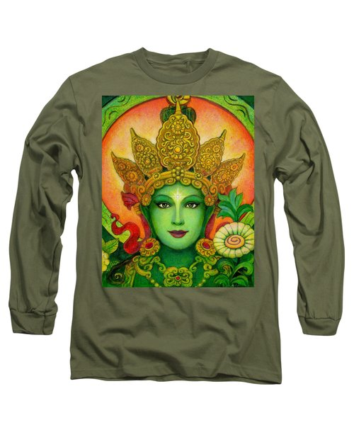 Long Sleeve T-Shirt featuring the painting Goddess Green Tara's Face by Sue Halstenberg