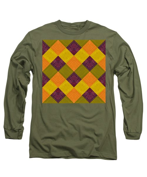 Long Sleeve T-Shirt featuring the painting Gold And Green With Orange 2.0 by Michelle Calkins