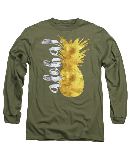 Gold And Silver Aloha Pineapple Tropical Fruit Of Hawaii Long Sleeve T-Shirt by Tina Lavoie