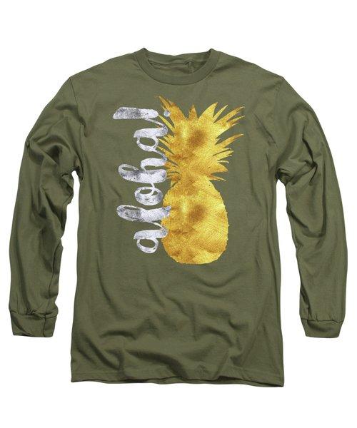 Gold And Silver Aloha Pineapple Tropical Fruit Of Hawaii Long Sleeve T-Shirt