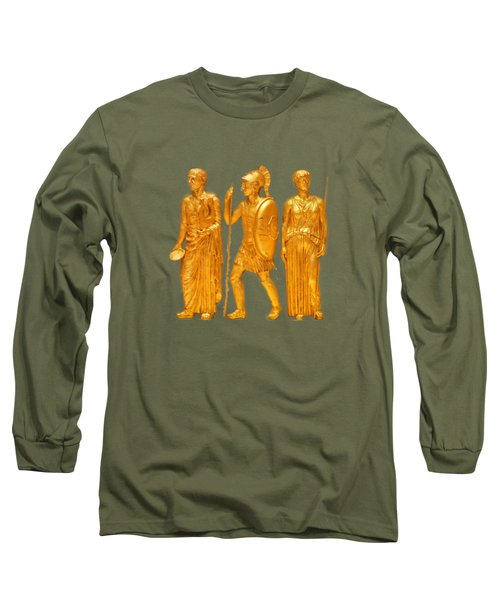 Gold Covered Greek Figures Long Sleeve T-Shirt