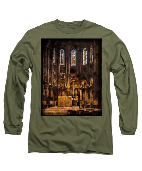 Paris, France - Gold Cross - St Germain Des Pres Long Sleeve T-Shirt