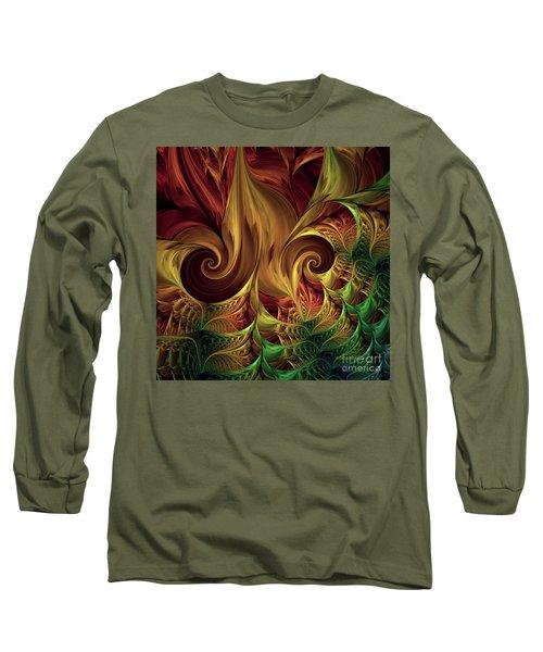 Long Sleeve T-Shirt featuring the digital art Gold Curl by Deborah Benoit