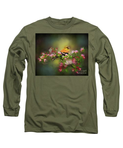 Gold Finch And Blossoms Long Sleeve T-Shirt