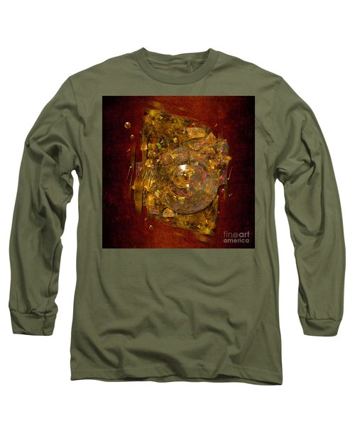 Long Sleeve T-Shirt featuring the digital art Golden Abstract by Alexa Szlavics