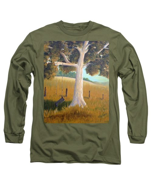 The Shadows Of Childhood Long Sleeve T-Shirt by T Fry-Green