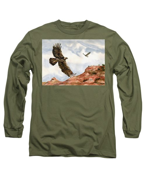 Golden Eagles In Fligh Long Sleeve T-Shirt by Sam Sidders