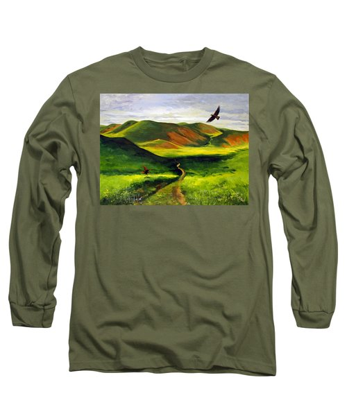 Long Sleeve T-Shirt featuring the painting Golden Eagles On Green Grassland by Suzanne McKee