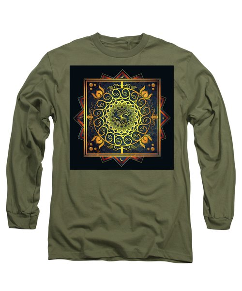 Golden Filigree Mandala Long Sleeve T-Shirt by Deborah Smith