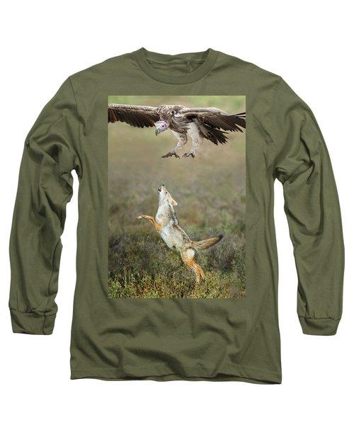 Golden Jackal, Canis Aureus, Leaping At Vulture Long Sleeve T-Shirt