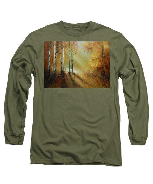 Golden Light In Autumn Woods Long Sleeve T-Shirt