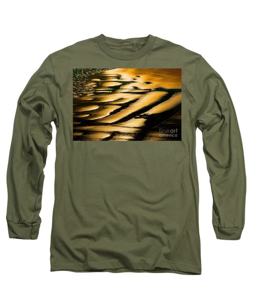 Golden Light On The Wet Sand, Point Reyes National Seashore Mar Long Sleeve T-Shirt by Wernher Krutein