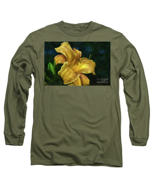 Long Sleeve T-Shirt featuring the digital art Golden Lily by Lois Bryan
