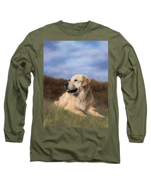 Golden Retriever Painting Long Sleeve T-Shirt by Rachel Stribbling