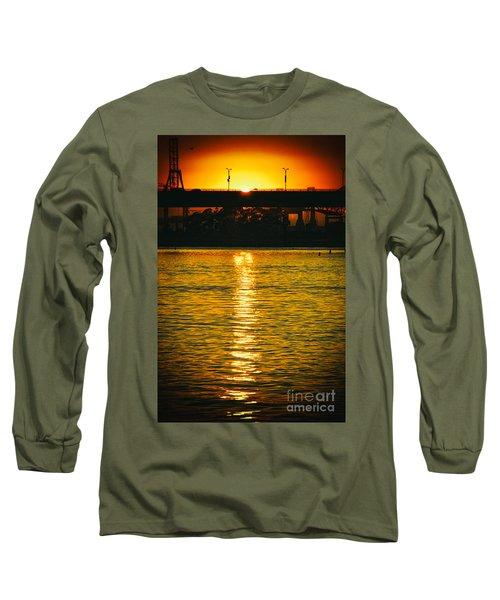 Long Sleeve T-Shirt featuring the photograph Golden Sunset Behind Bridge by Mariola Bitner