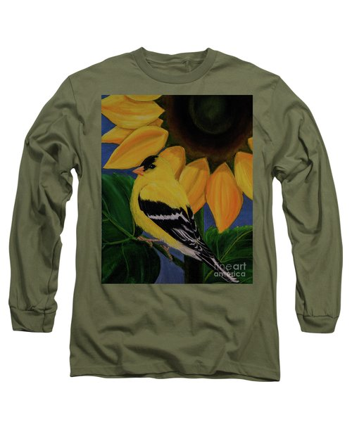 Goldfinch And Sunflower Long Sleeve T-Shirt