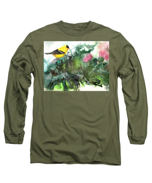 Long Sleeve T-Shirt featuring the painting Goldfinch by Sherry Shipley