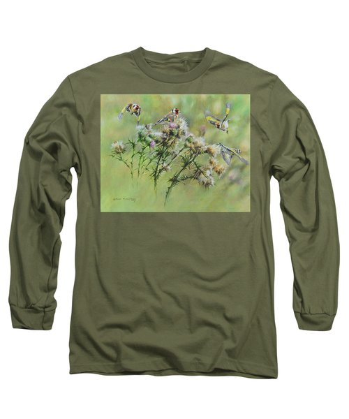 Goldfinches On Thistle Long Sleeve T-Shirt