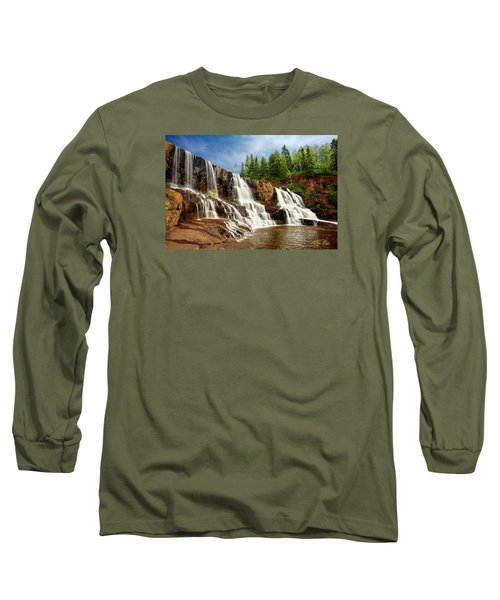 Long Sleeve T-Shirt featuring the photograph Gooseberry Falls by Rikk Flohr