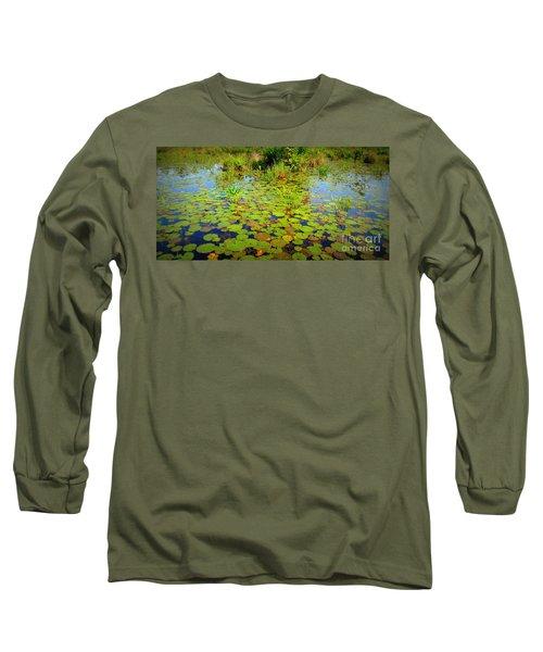 Gorham Pond Lily Pads Long Sleeve T-Shirt by Susan Lafleur