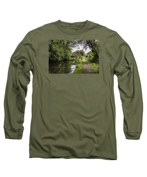 Goytre Wharf  Bridge Long Sleeve T-Shirt by Steve Purnell