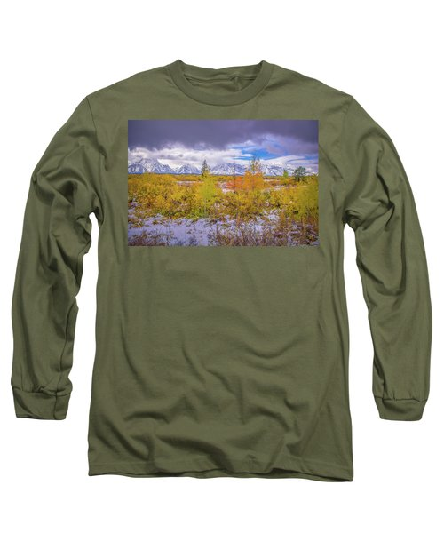 Grand Teton Fall Snowfall Long Sleeve T-Shirt