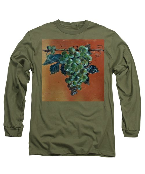 Grape Long Sleeve T-Shirt by Andrew Drozdowicz