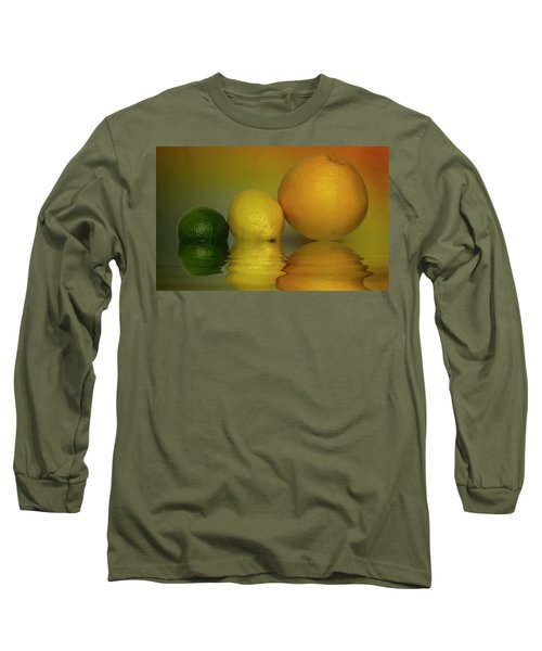 Long Sleeve T-Shirt featuring the photograph Grapefruit Lemon And Lime Citrus Fruit by David French