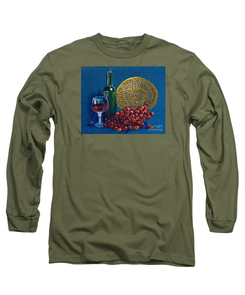 Long Sleeve T-Shirt featuring the painting Grapes And Wine by AnnaJo Vahle