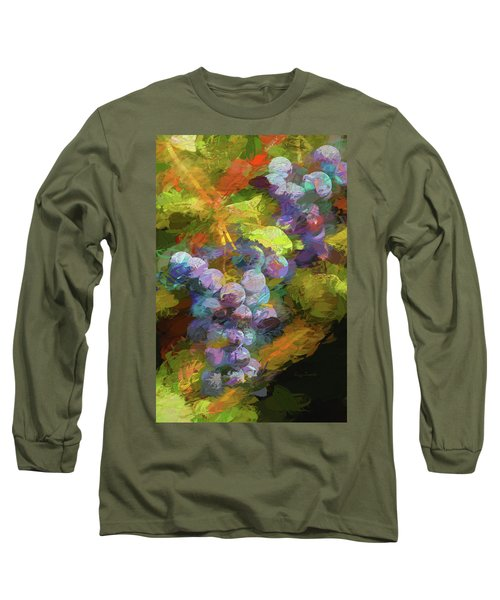 Grapes In Abstract Long Sleeve T-Shirt by Penny Lisowski