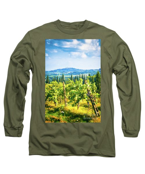 Long Sleeve T-Shirt featuring the photograph Grapevine In San Gimignano Tuscany by Silvia Ganora