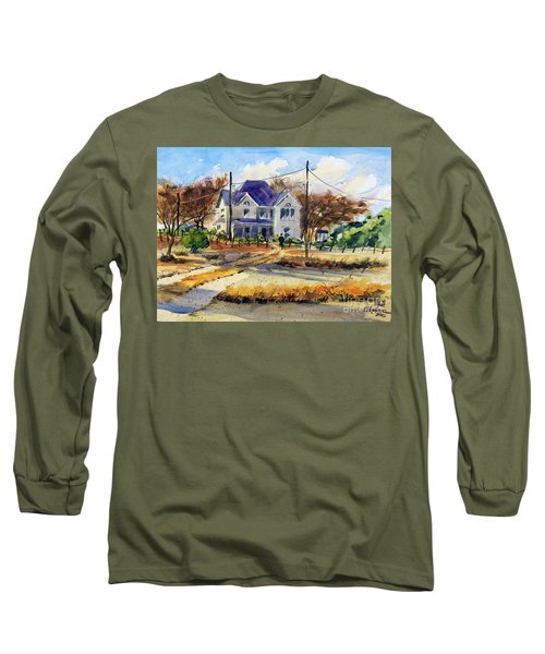 Long Sleeve T-Shirt featuring the painting Grayson County Farmhouse by Ron Stephens