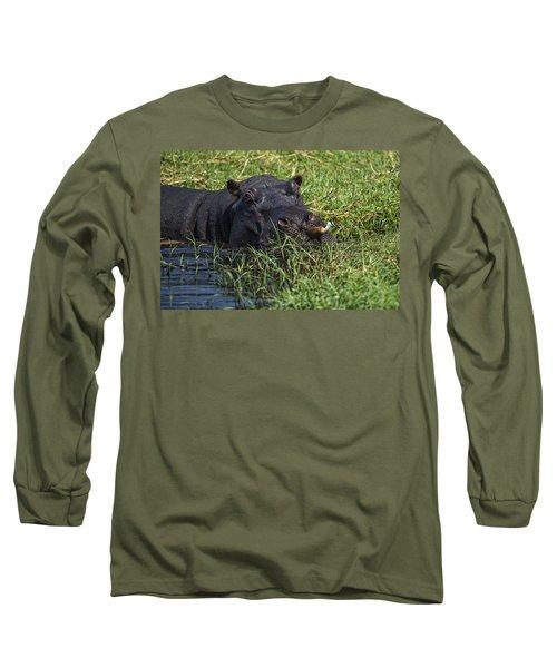 The Hippo And The Jacana Bird Long Sleeve T-Shirt
