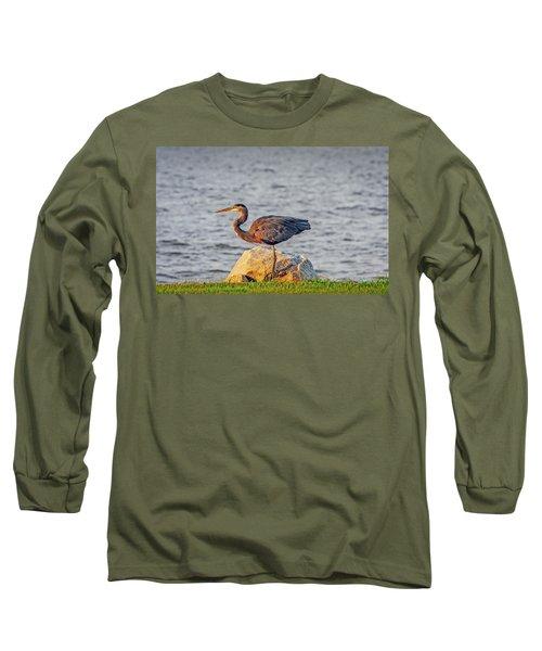 Great Blue Heron At Sunset Long Sleeve T-Shirt