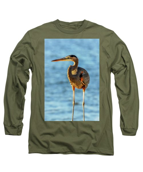 Great Blue Heron Closeup Long Sleeve T-Shirt