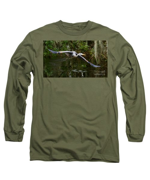 Great Blue Heron Flight Long Sleeve T-Shirt by Myrna Bradshaw