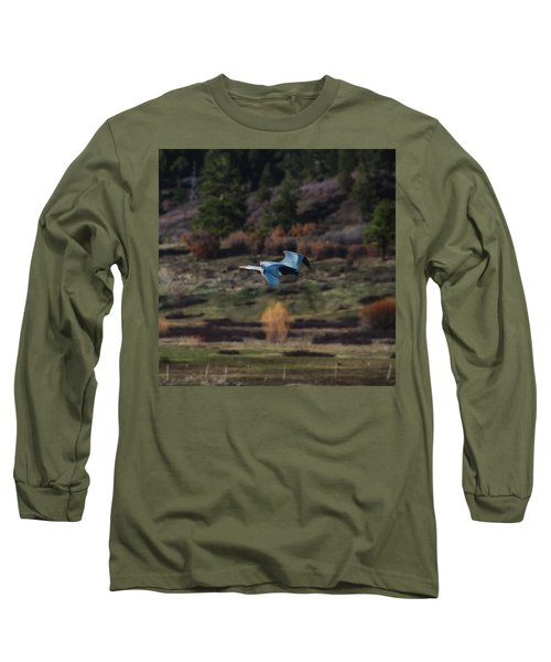 Great Blue Heron In Flight II Long Sleeve T-Shirt
